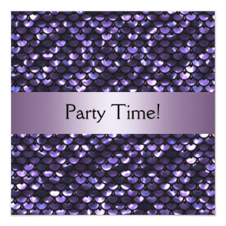 Purple Mauve Sequins Birthday Party Card