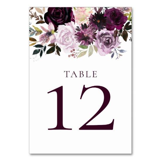 Purple Mauve Violet Plum Pink Watercolor Table Number