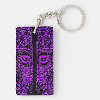 Purple Mayan Twins Mask Illusion on Black Keychain