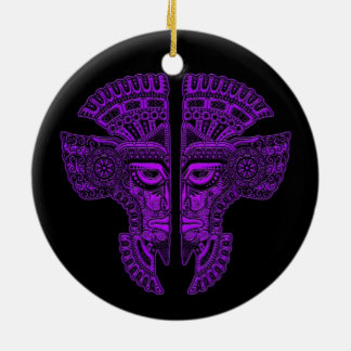 Purple Mayan Twins Mask Illusion on Black Double-Sided Ceramic Round Christmas Ornament