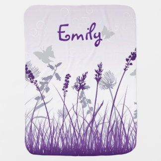 Purple Meadow and Butterfly Baby Blanket