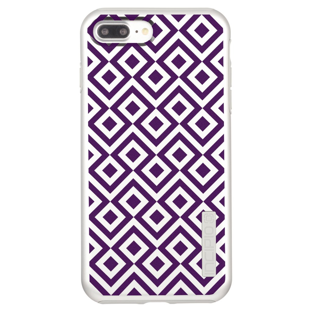 Purple Meander and Diamonds on Silver Incipio DualPro Shine iPhone 7 Plus Case
