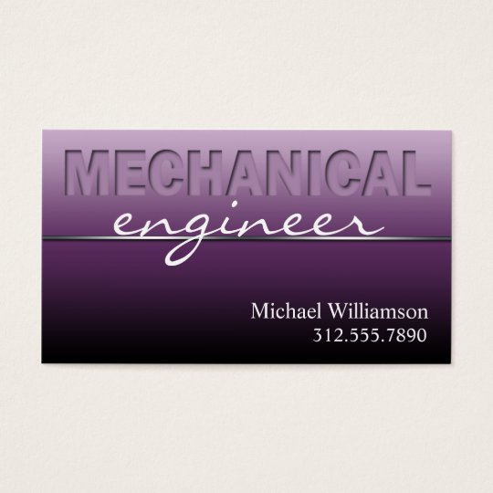 Purple Mechanical Engineer Sleek Business Cards