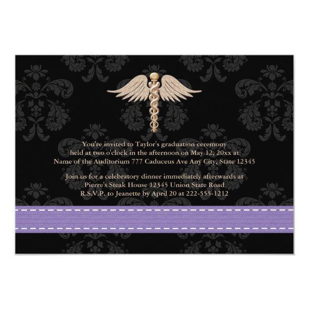 Purple Medical School Graduation Announcement (back side)