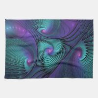 Purple meets Turquoise modern abstract Fractal Art Hand Towel
