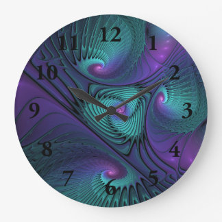 Purple meets Turquoise modern abstract Fractal Art Large Clock