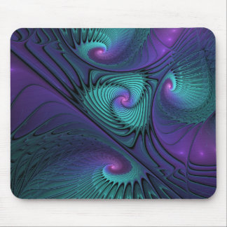 Purple meets Turquoise modern abstract Fractal Art Mouse Pad