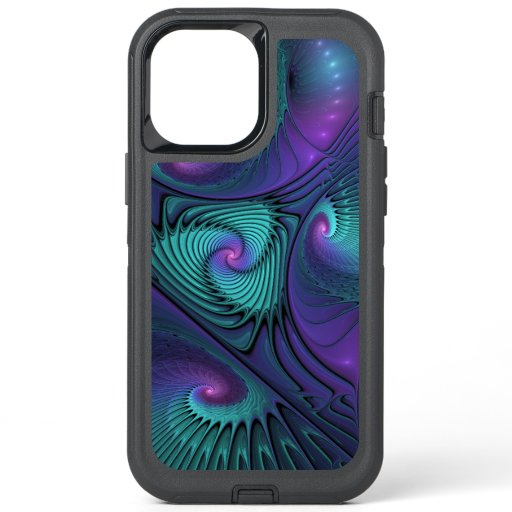 Purple Meets Turquoise Modern Abstract Fractal Art OtterBox Defender iPhone 12 Pro Max Case