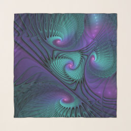 Purple meets Turquoise modern abstract Fractal Art Scarf