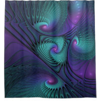 Purple meets Turquoise modern abstract Fractal Art Shower Curtain