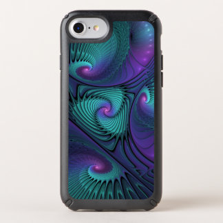 Purple meets Turquoise modern abstract Fractal Art Speck iPhone Case