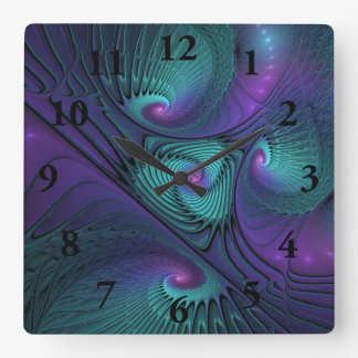 Purple meets Turquoise modern abstract Fractal Art Square Wall Clock