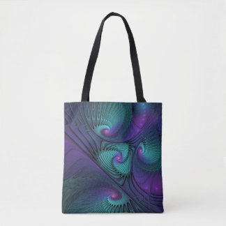 Purple meets Turquoise modern abstract Fractal Art Tote Bag