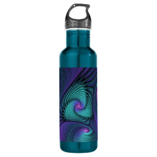Purple meets Turquoise modern abstract Fractal Art Water Bottle