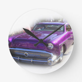Purple Mercury Hot Rod Car Show Vintage Round Clock