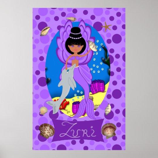 Purple Merfaery and Dolphin Print