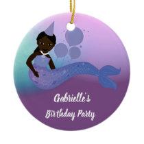 Purple Mermaid African American Birthday Ornament