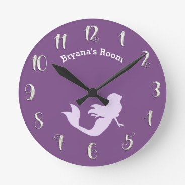 Beach Themed Purple Mermaid Bedroom Personalized Custom Name Round Clock