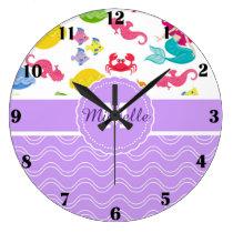 Purple Mermaid Clock
