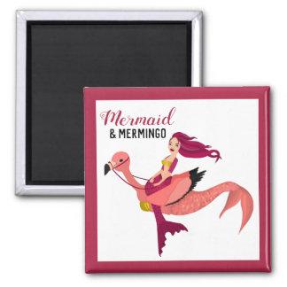 Purple Mermaid & Cute Pink Flamingo BFF Mermingo Magnet
