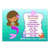 Purple Mermaid Pool Party Custom Invitations