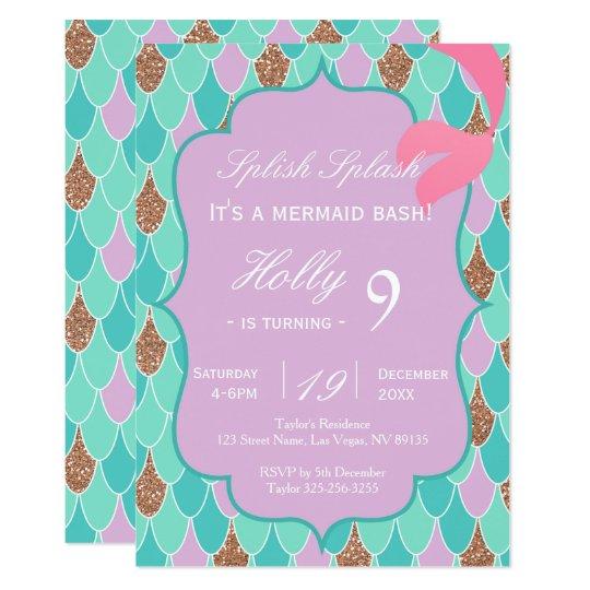 Purple Mermaid Tail Birthday Invitation