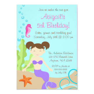 Purple Mermaid Under The Sea Birthday Party 5x7 Paper Invitation Card