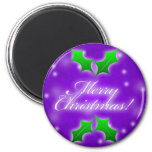 Purple Merry Christmas 2 Inch Round Magnet