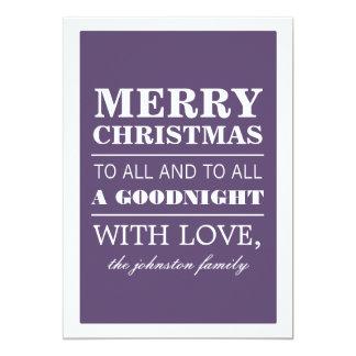 Purple Merry Christmas Photo Flat Cards