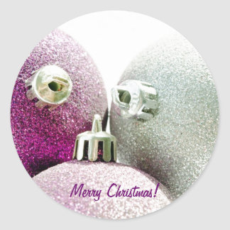 Purple Merry Christmas Stickers
