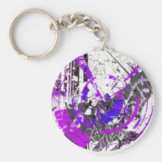 Purple Mess Basic Round Button Keychain