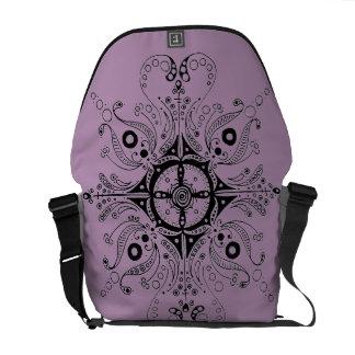 Purple Messenger Bag with Hand-Drawn Henna Design