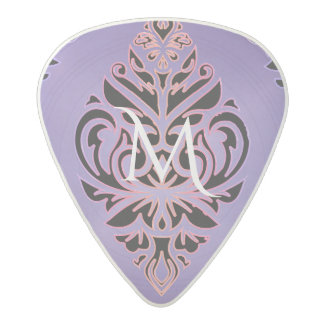 Purple Metal Look Tribal Monogram Acetal Guitar Pick
