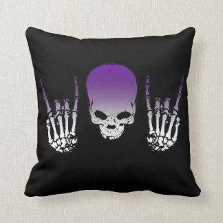 Purple Metal Skull Pillow