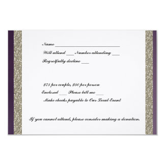 Purple Metallic and Silver RSVP Card