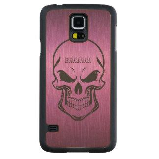 Purple Metallic Background Black Sugar Skull Carved Maple Galaxy S5 Case
