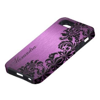 Purple Metallic Brushed Aluminum & Floral Damasks iPhone SE/5/5s Case