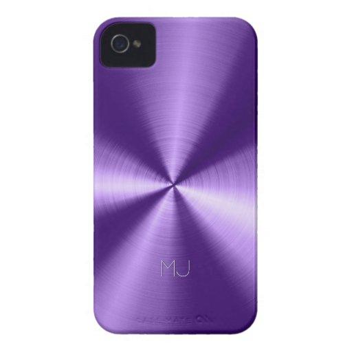 Purple Metallic Design Stainless Steel Look Case-Mate iPhone 4 Cases