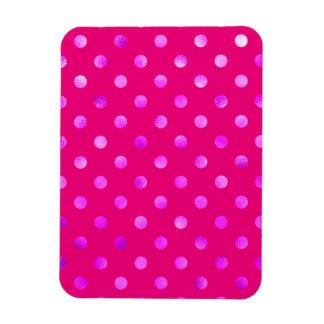 Purple Metallic Faux Foil Polka Dot Background Rectangular Photo Magnet