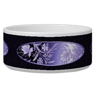 Purple Metallic Flowers Dog Bowls