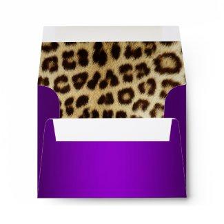 Purple Metallic Leopard Fur Lined NoteCard envelope