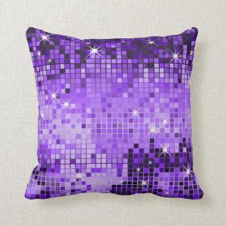 Purple Metallic Sequins Glitter Abstract Pixel Art Pillows