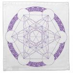 Purple Metatrons Cube Crystal Grid Cloth Napkin