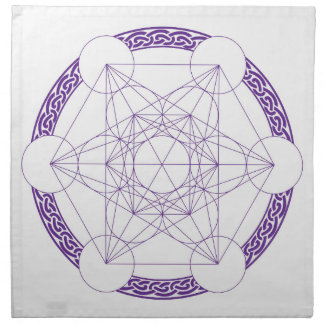 Purple Metatrons Cube Crystal Grid Cloth Napkin