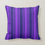 [ Thumbnail: Purple & Midnight Blue Colored Pattern Pillow ]