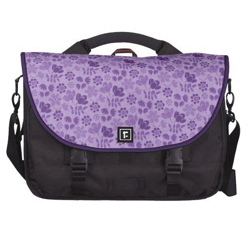 Purple Mini Flowers Laptop Messenger Bag