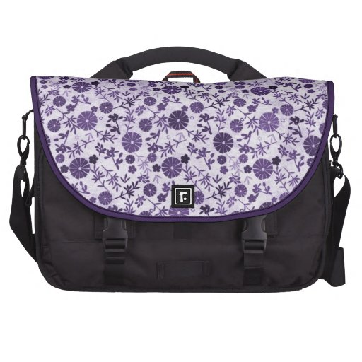 Purple Mini Flowers Laptop Commuter Bag