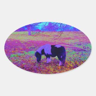 Purple miniature horse oval sticker