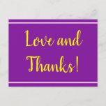 "[ Thumbnail: Purple, Minimal & Elegant ""Love and Thanks!"" Card ]"