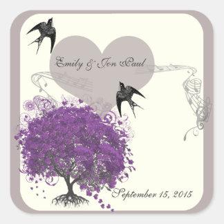 Purple Mink Heart Leaf Tree Weddings Square Sticker